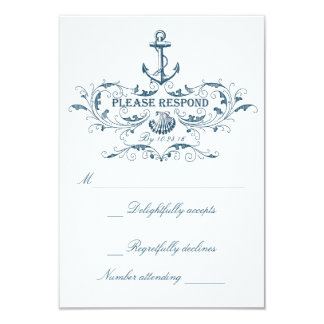 Nautical wedding RSVP cards 9 Cm X 13 Cm Invitation Card