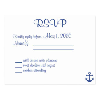 Nautical Wedding RSVP Postcard With Names