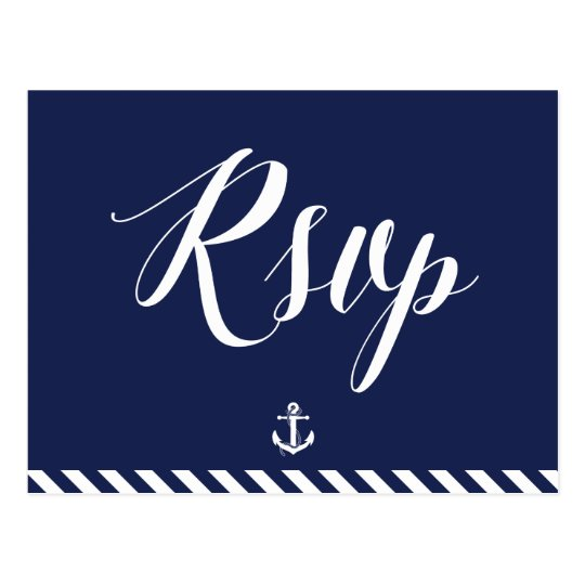 Nautical Wedding RSVP Postcards With Stripes