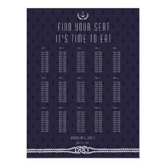 Nautical Wedding Seating Chart Blue Anchors