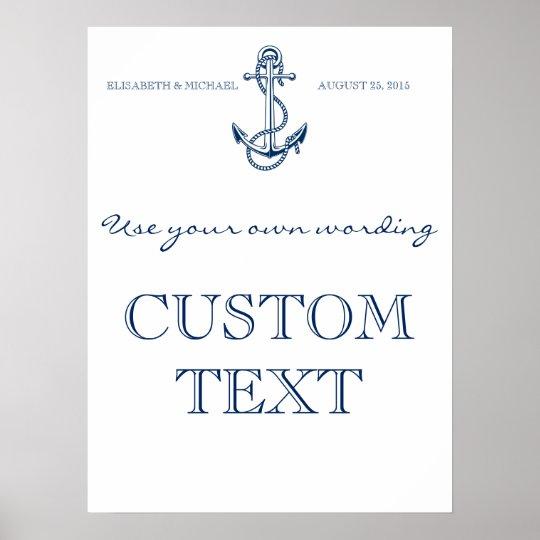 Nautical Wedding sign | Custom text | template