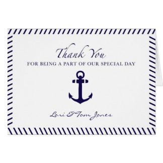 Nautical Wedding Thank You Blue Anchor Card