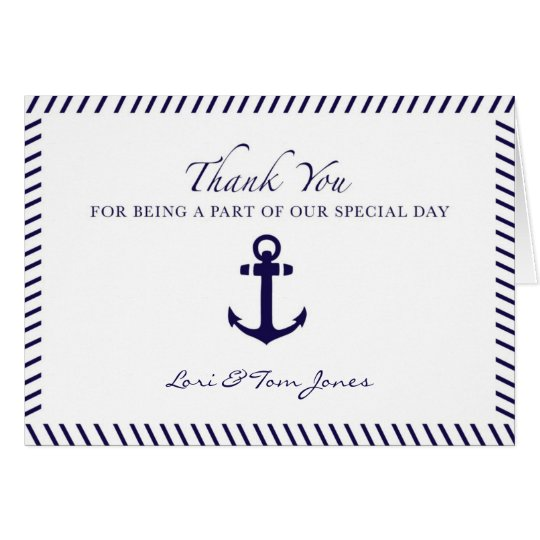 Nautical Wedding Thank You Blue Anchor Card