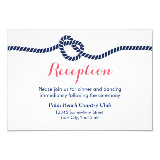 Nautical Wedding Tying the Knot Reception Card