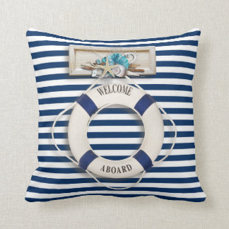 "Nautical - ""Welcome Aboard"" (1) Throw Pillow"