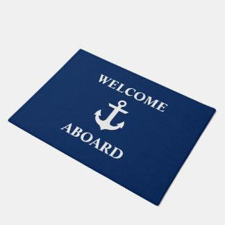 Nautical Welcome Aboard Navy Blue Doormat
