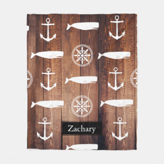 Nautical Whale Anchor & Helm Dark Wooden Planks Fleece Blanket