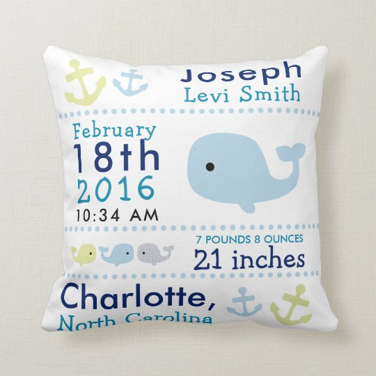 Nautical Whale Birth Stats Nursery Throw Pillow