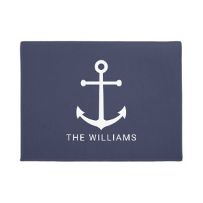 Nautical White Anchor and Custom Name on Navy Blue Doormat