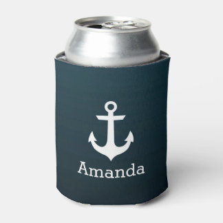 Nautical White Anchor Blue Ombre Personalized Name Can Cooler