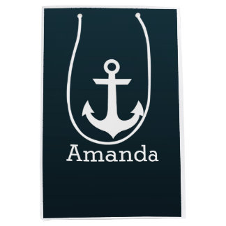 Nautical White Anchor Blue Ombre Personalized Name Medium Gift Bag