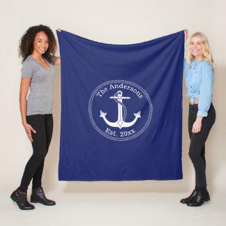 Nautical White Anchor Family Name Fleece Blanket