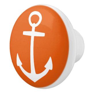 Nautical White Anchor on Wild Tangerine Ceramic Knob