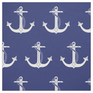 Nautical White Anchor Pattern Fabric