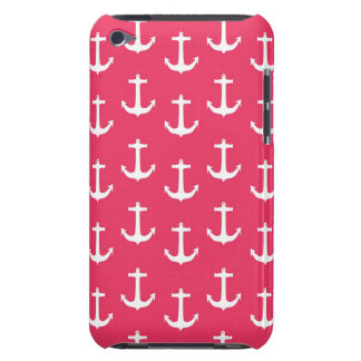 Nautical White Anchors against Fuchsia Pink Barely There iPod Cases