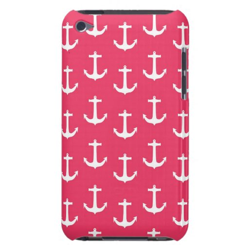 Nautical White Anchors against Fuchsia Pink iPod Touch Covers