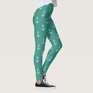Nautical White Anchors on Gypsy Teal Leggings