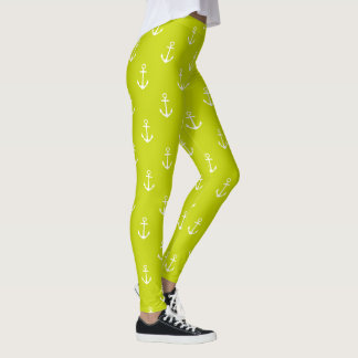 Nautical White Anchors on Lime Green Leggings