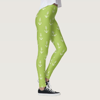 Nautical White Anchors on New Sage Green Leggings