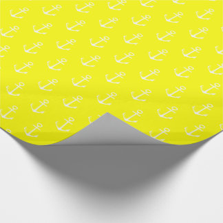 Nautical White Anchors on Sunshine Yellow Wrapping Paper