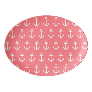 Nautical White Anchors on Tropical Coral Pink Porcelain Serving Platter