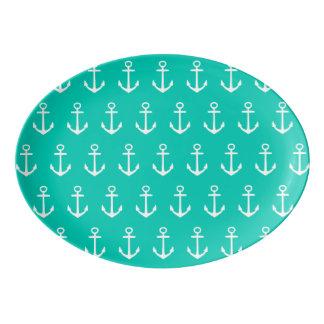 Nautical White Anchors on Tropical Island Sea Porcelain Serving Platter