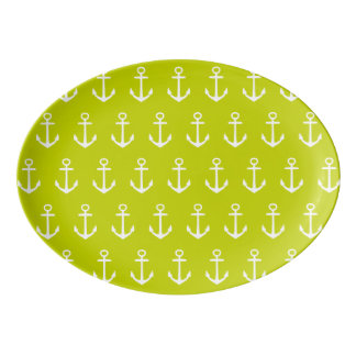 Nautical White Anchors on Tropical Lime Green Porcelain Serving Platter