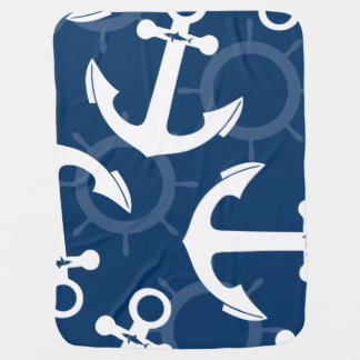 Nautical White and Blue Anchors Pattern Baby Blanket