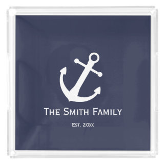 Nautical White and Blue Serving Tray