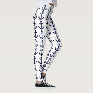 Nautical White & Blue Anchor Leggings