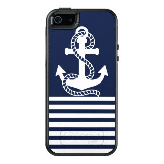 Nautical White Blue Anchor OtterBox iPhone SE/5/5s