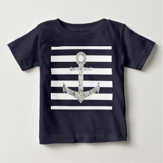 Nautical white rose anchor baby T-Shirt