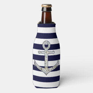 Nautical white rose anchor bottle cooler