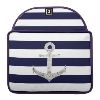 Nautical white rose anchor sleeve for MacBook pro