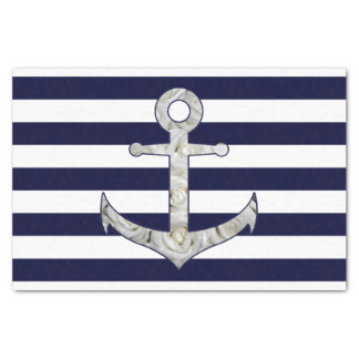 Nautical white rose anchor tissue paper