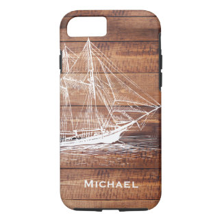 Nautical White Ship Schooner & Dark Wood Planks iPhone 8/7 Case