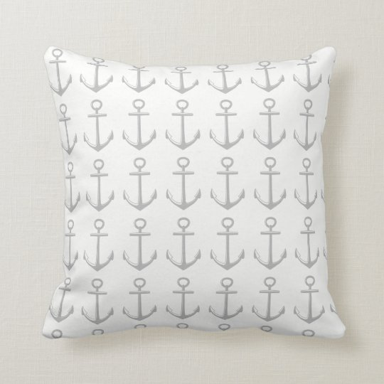 nautical white throw pillow