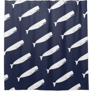 Nautical White Whales & Navy Shower Curtain