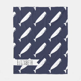 Nautical White Whales & Navy with Name Fleece Blanket