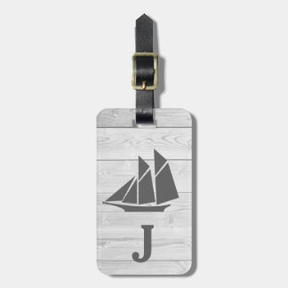 Nautical White Wood & Gray Sailboat Monogram Luggage Tag