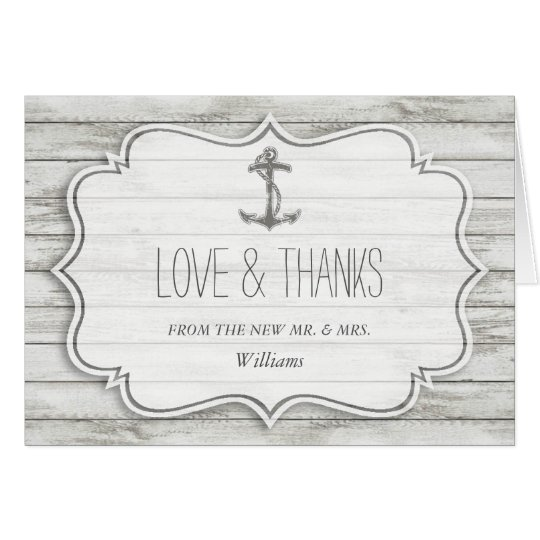 Nautical Whitewashed Wood Beach Wedding Collection Card