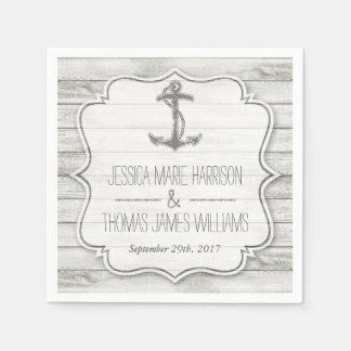 Nautical Whitewashed Wood Beach Wedding Collection Paper Napkin