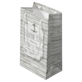 Nautical Whitewashed Wood Beach Wedding Collection Small Gift Bag