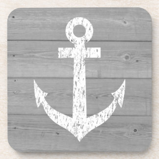 Nautical wooden drink coasters with boat anchor