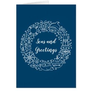 Nautical Wreath Coastal Christmas Holiday Card