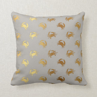 Nautical Yacht Club Fisherman Gray Golden Crab Cushion