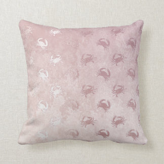 Nautical Yacht Club Glam Gold Pink Crab Cushion