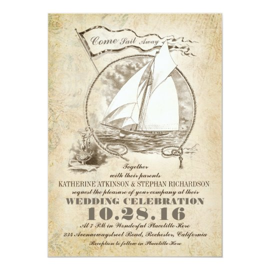 Nautical yacht wedding invitation-Come Sail Away Card