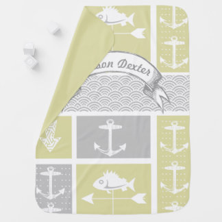 Nautical Yellow and Gray Anchor Fish Weather Vane Baby Blanket