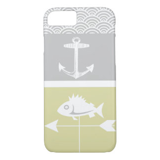 Nautical Yellow and Gray Anchor Fish Weather Vane iPhone 8/7 Case